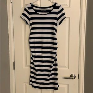 Liz Lange S white/navy blue stripe maternity dress